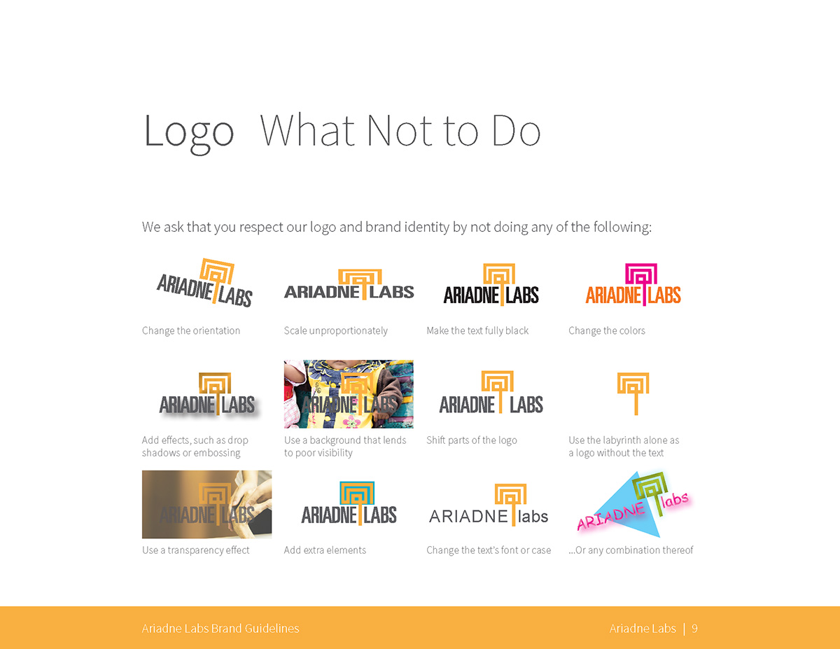 Logo: What Not to Do, examples of poor logo usage