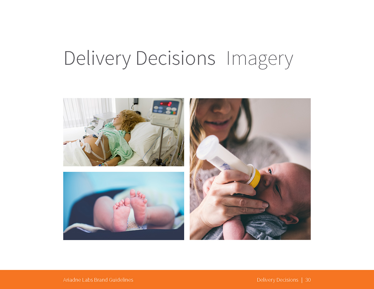 Delivery Decisions: Imagery examples: a pregnant woman in a hospital bed, a baby's feet, and a mother bottle-feeding an infant